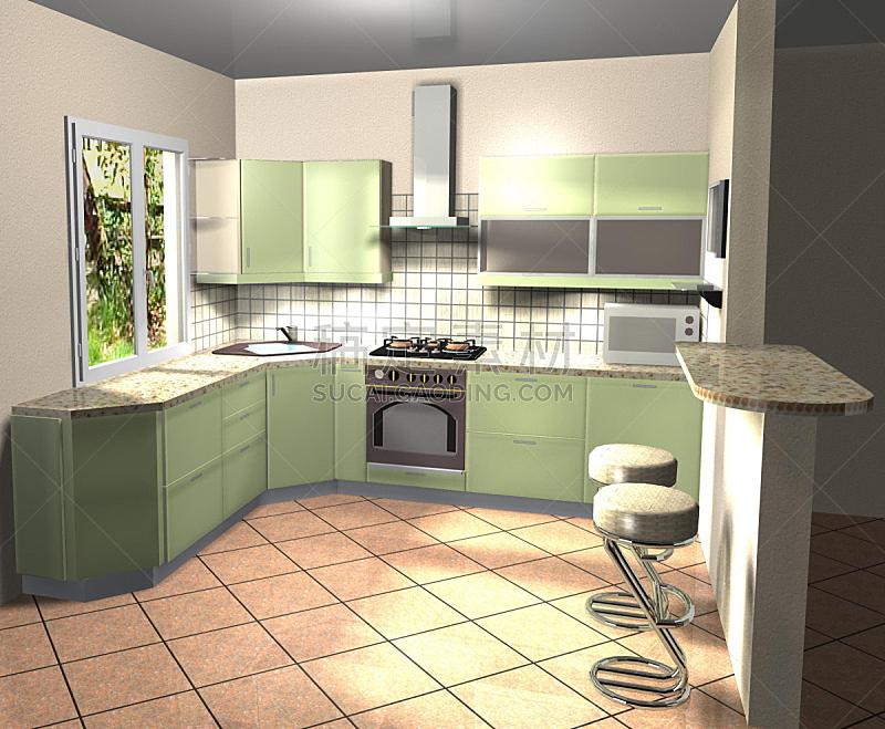 厨房,室内设计师,三维图形,绘画插图,窗户,住宅房间,灰色,水平画幅,绿色,墙