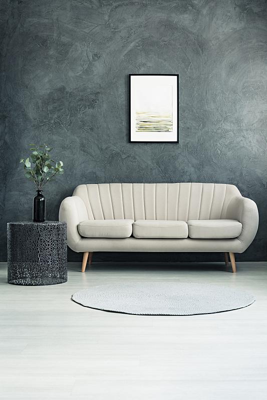 灰色,墙,纹理效果,垂直画幅,边框,灯,家具,金属,明亮,沙发