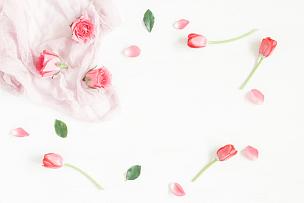 边框,郁金香,玫瑰,仅一朵花,平铺,视角,顶部,留白,水平画幅,高视角