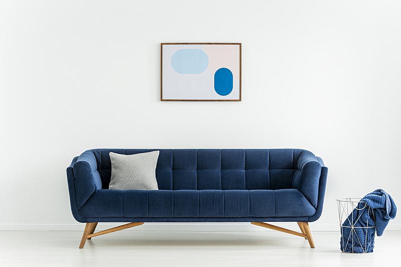 篮子,沙发,白色,毯子,蓝色,软垫,室内,起居室,摄影
