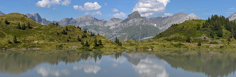 湖,恩格尔伯格,瑞士,在上面,水,美,水平画幅,无人,夏天,户外