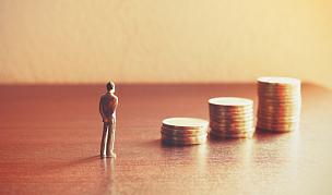 储蓄,小的,金融,看,人,概念,熔锅,风险,财会,贷款