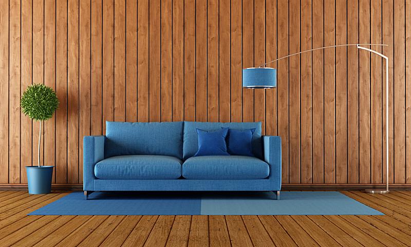 木制,蓝色,起居室,落地灯,水平画幅,墙,无人,硬木地板,地毯,灯