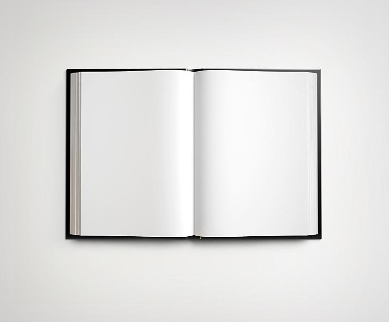 教科书,开着的,空白的,白色,书页,书,笔记本,平装书,黑色