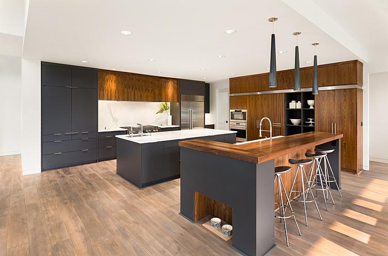 硬木,项坠,厨房,现代,水槽,华贵,住宅内部,自然美,岛,数字2