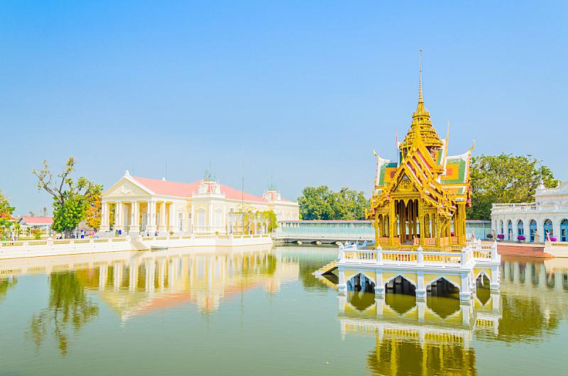 建筑,宫殿,泰国,挽芭茵,水平画幅,装饰物,旅行者,夏天,居住区,华丽的