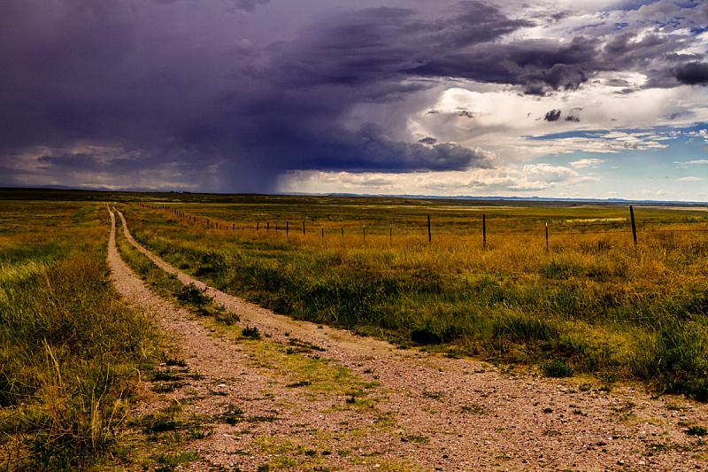 波尼印第安国家草场,暴风雨,夏天,水平画幅,无人,草原,户外,天气,土路,云