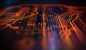 技术,橙色,蓝色,背景聚焦,电脑芯片,电路板,超文本链接标示语言,母板,网络服务器,水平画幅