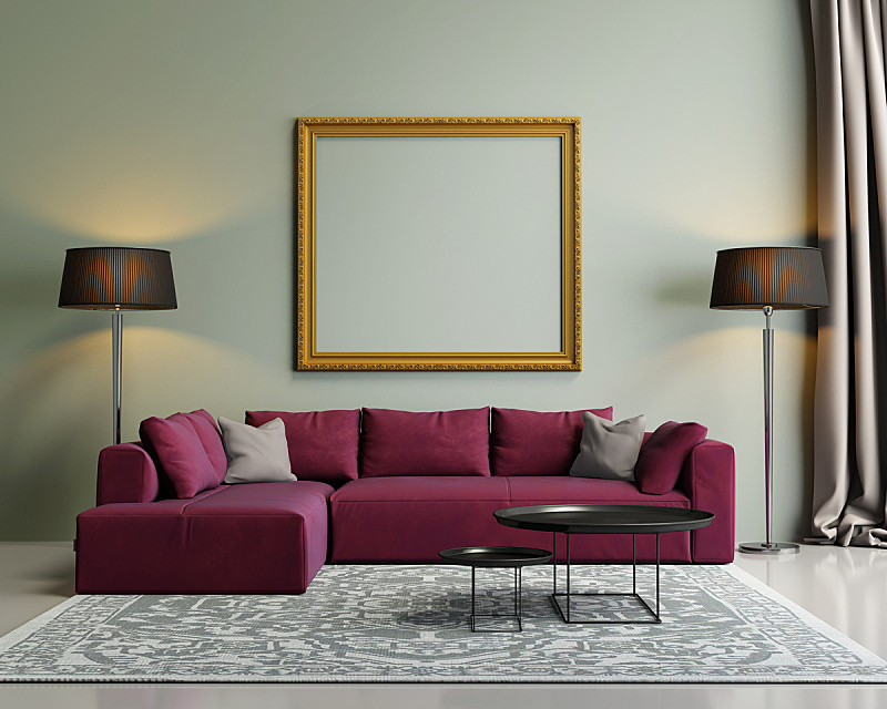 现代,沙发,室内,华贵,红色,绿色,样板间,家居开发,水平画幅,地毯