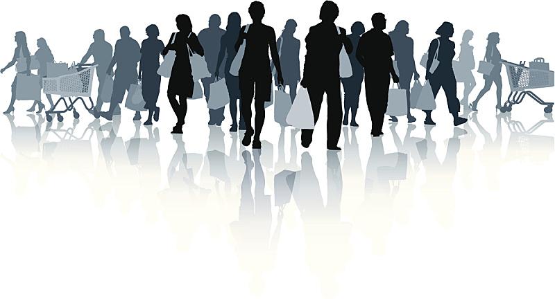 购物中心,人,青少年,新的,顾客,绘画插图,购物车,商店,夏天,现代