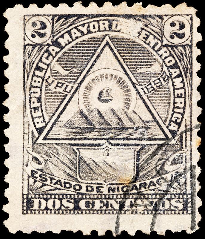 尼加拉瓜,邮戳,垂直画幅,南美,留白,古董,无人,符号,墨水