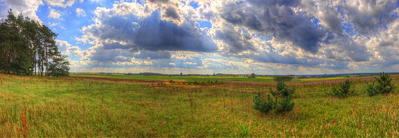 云,草地,地形,在下面,波兰,技能,环境,草类,天气,高动态范围成像