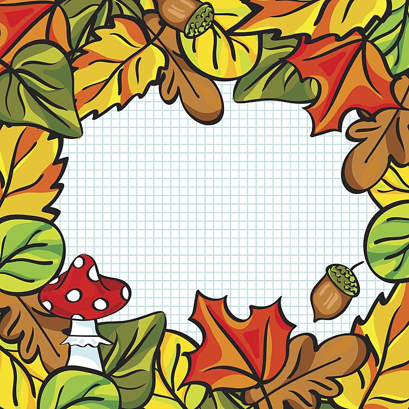 边框,秋天,叶子,矢量,笔记本,纸,纹理效果,贺卡,计划书,儿童教育