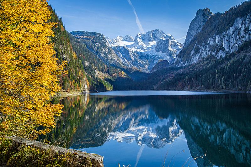 达特施泰因山脉,秋天,风景,山,水,天空,雪,湖,上奥地利州,奥地利