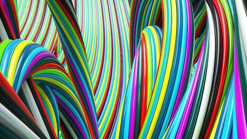 抽象,圆柱体,电缆,水平画幅,无人,线条,创造力,触须,彩色背景,计算机制图