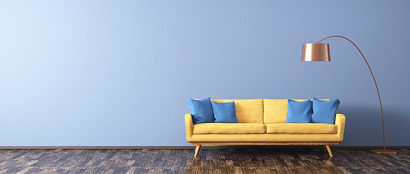 沙发,三维图形,落地灯,起居室,水平画幅,墙,无人,灯,家具,现代
