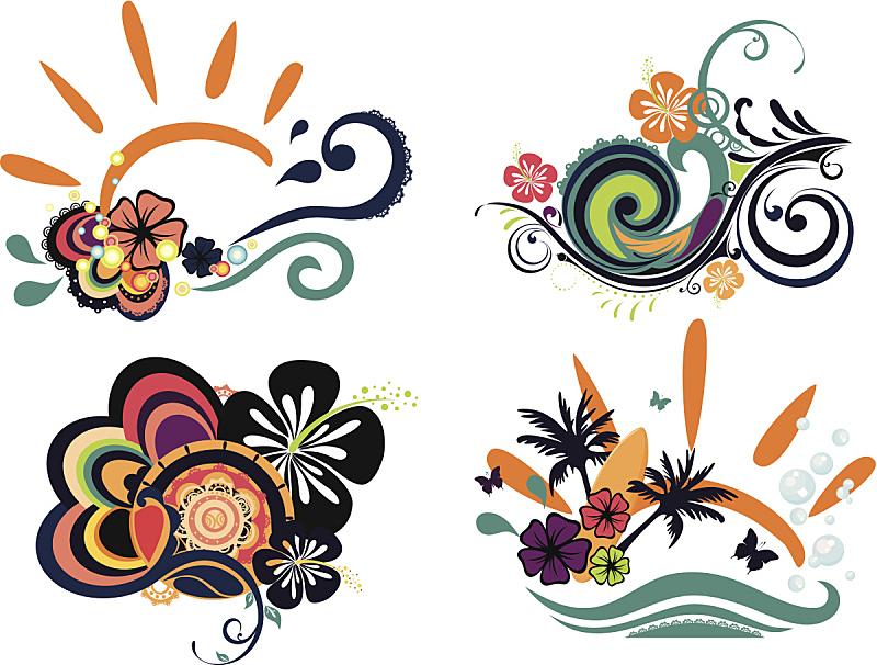 木槿属,四个物体,分离着色,艺术,纹理效果,蝴蝶,绘画插图,spa美容,夏天,玫瑰