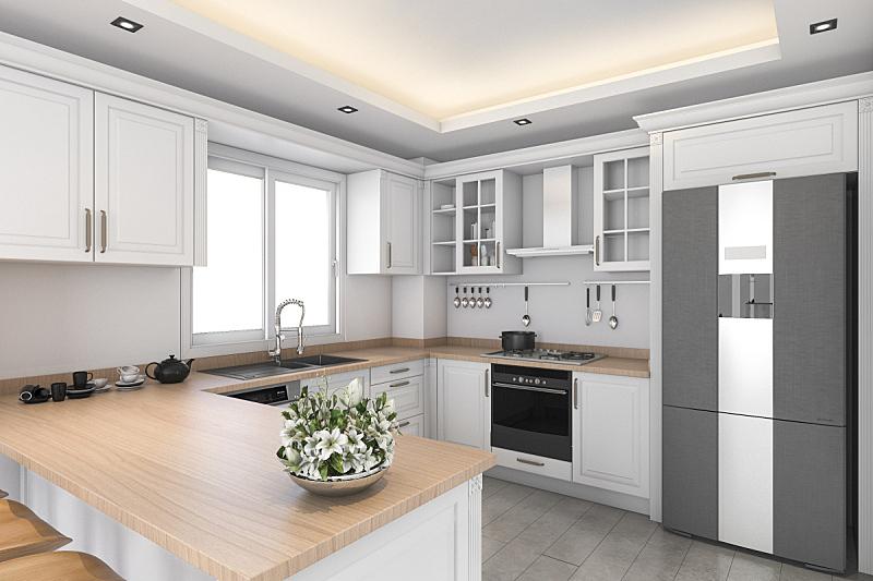 白色,饭厅,厨房,三维图形,简单,家具,居住区,现代,水槽,地板