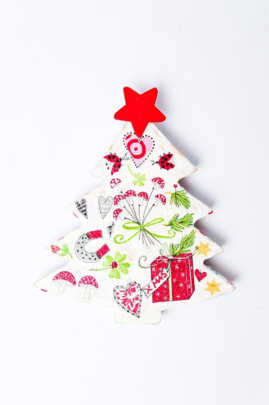 圣诞树,蝶古巴特艺术拼贴,白色,垂直画幅,绘画插图,美,新的,古董,艺术