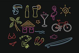 霓虹灯,天堂,水,绘画插图,符号,蜥蜴,塑料火烈鸟,含酒精饮料,饮料,凉拖鞋