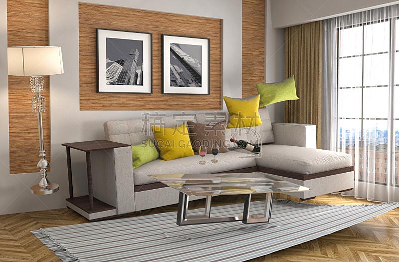 沙发,三维图形,绘画插图,起居室,地震,水平画幅,形状,墙,无人,灯