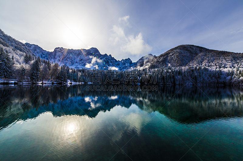 雪,湖,山,数字1,水,天空,美,公园,水平画幅,云