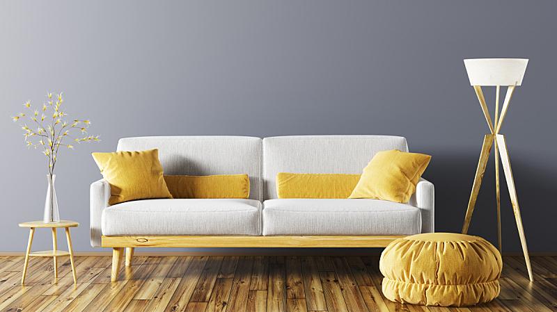 沙发,三维图形,室内,起居室,座位,水平画幅,纺织品,无人,绘画插图,灯