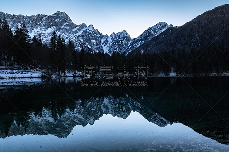 黄昏,自然美,湖,意大利,julian alps,蓝色,山,汽车视镜,钟面,反射
