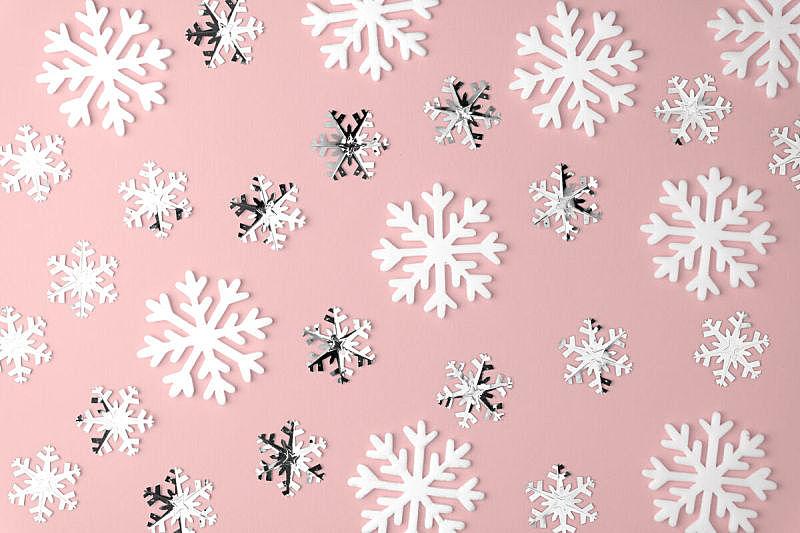 极简构图,粉色,概念,雪花,式样,平铺,彩色蜡笔,背景,上装