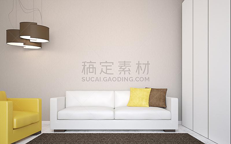 起居室,极简构图,正面视角,褐色,座位,水平画幅,形状,无人,灯,家具