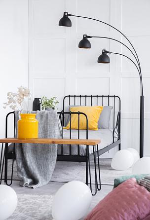 床,木制,白色,黄色,花瓶,室内,黑色,卧室,前面,摄影