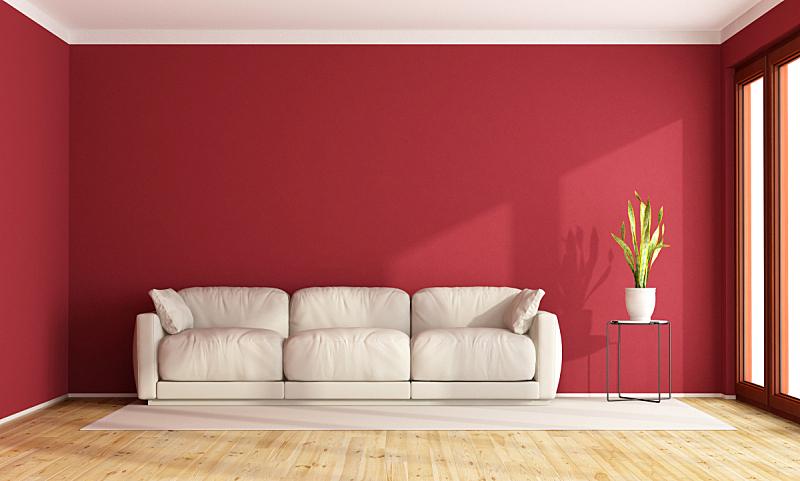 红色,起居室,水平画幅,墙,无人,硬木地板,家具,现代,沙发,白色