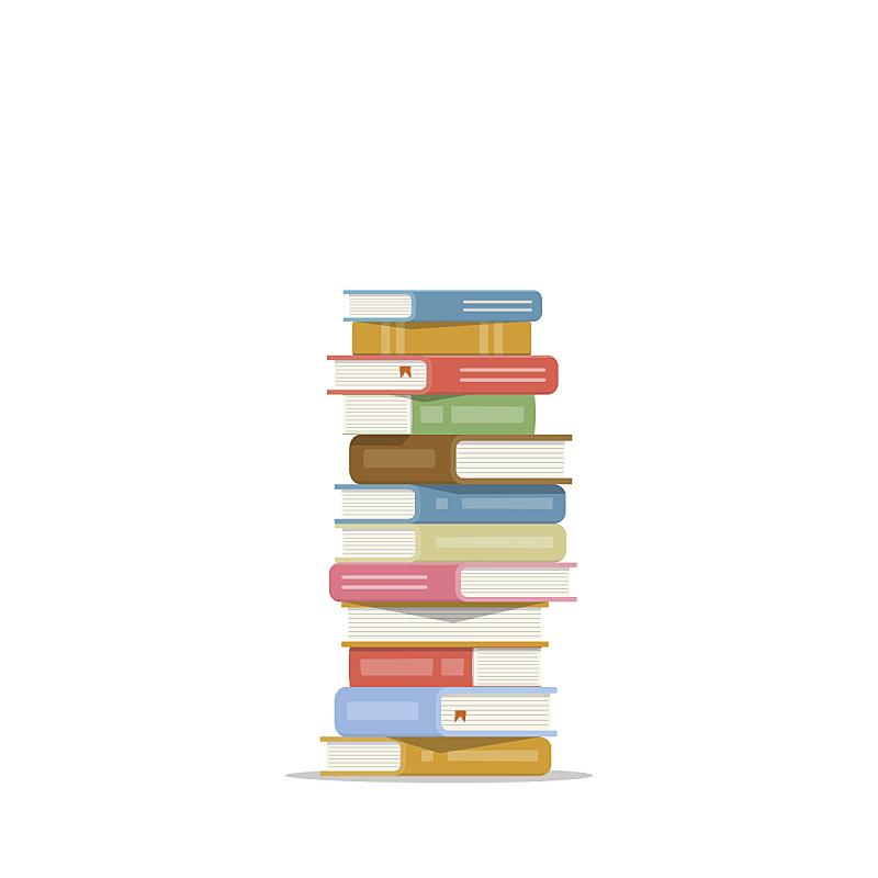 书,矢量,图标,绘画插图,白色背景,扁平化设计,垒起,教科书,书架,堆