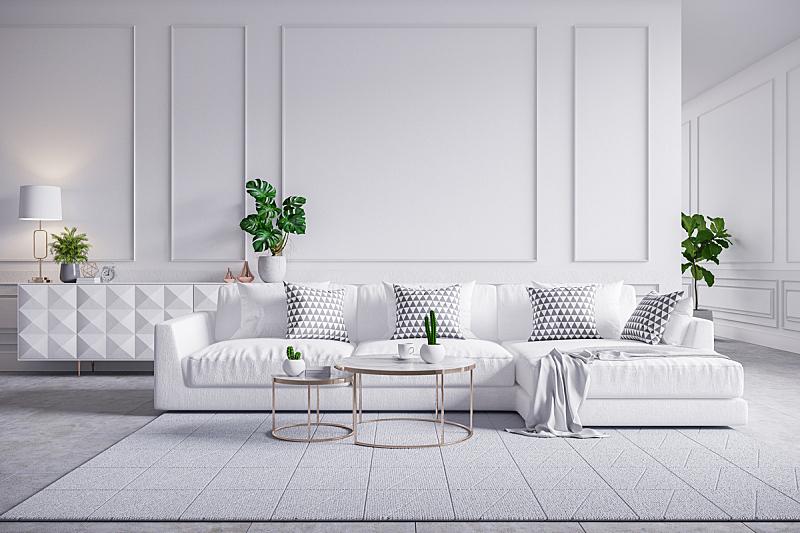 白色,地毯,墙,沙发,起居室,极简构图,室内,桌子,咖啡,瓷砖