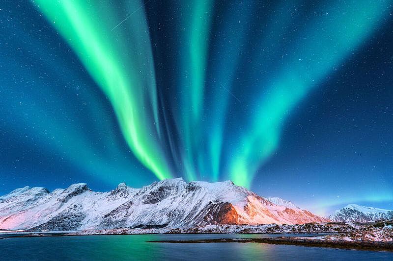 天空,星系,夜晚,北极光,极光,冬天,自然,绿色,地形,海洋