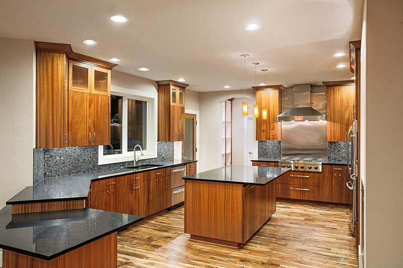 现代,水槽,住宅内部,华贵,厨房,柜子,岛,自然美,褐色,新的