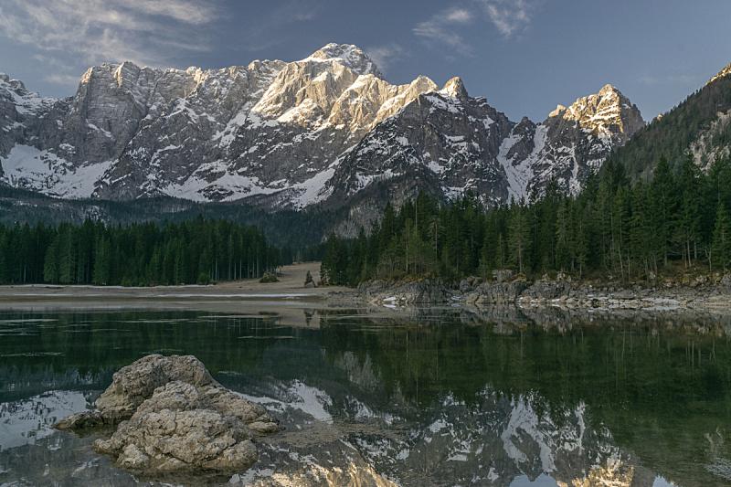 湖,山,在上面,julian alps,天空,美,水平画幅,雪,无人,早晨