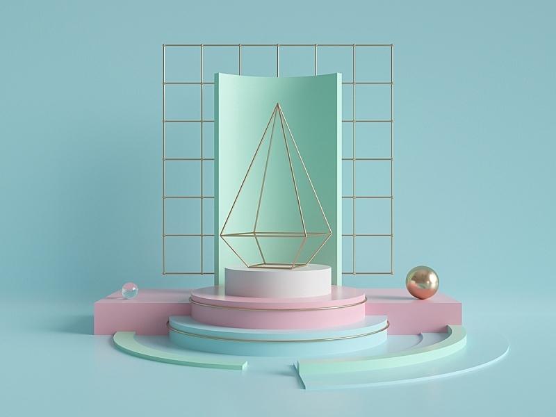 商店,粉色,极简构图,几何形状,空的,空白的,抽象,原始主义,轻蔑的,出示