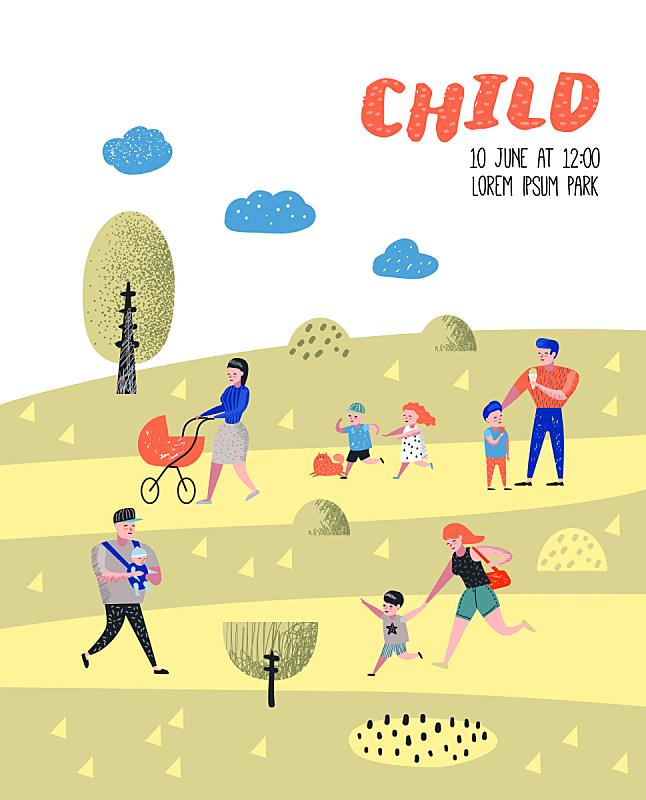 绘画插图,儿童,矢量,背景,父母,自然,幸福,人