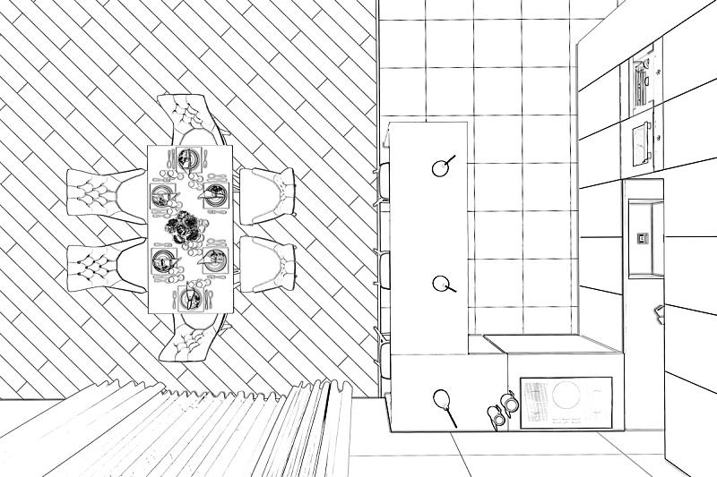 草图,饭厅,极简构图,视角,顶部,铅笔,技术,地板,蓝图,餐具