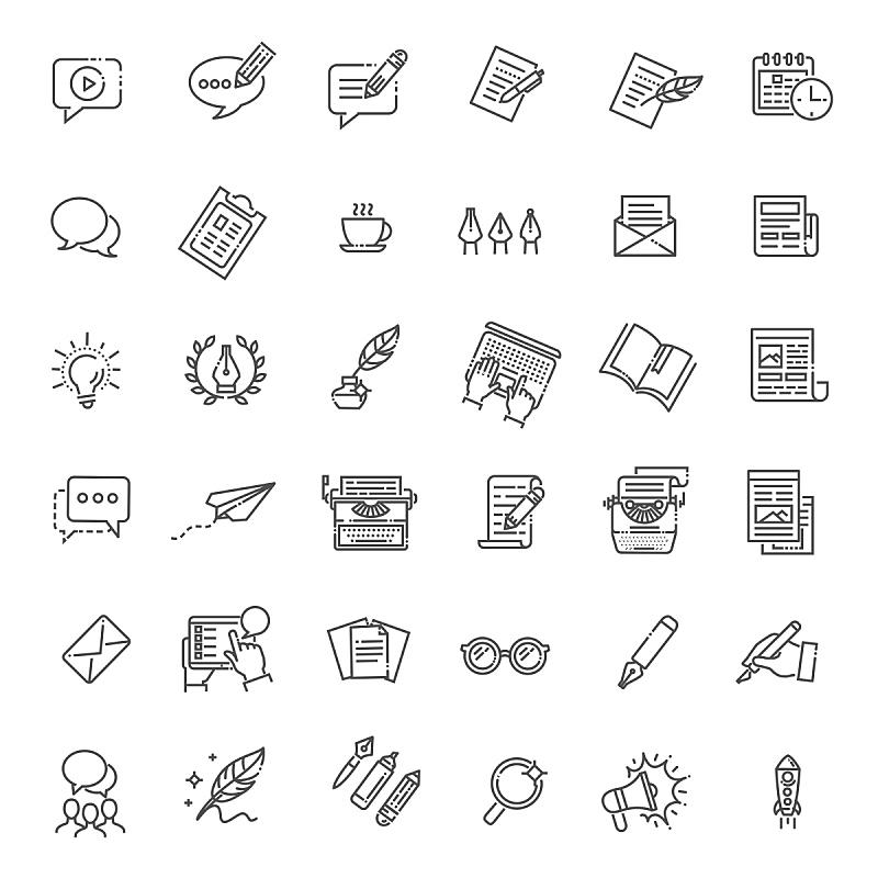 矢量,计算机图标,线条,家庭,简单,绘画插图,新创企业,文档,想法,技术