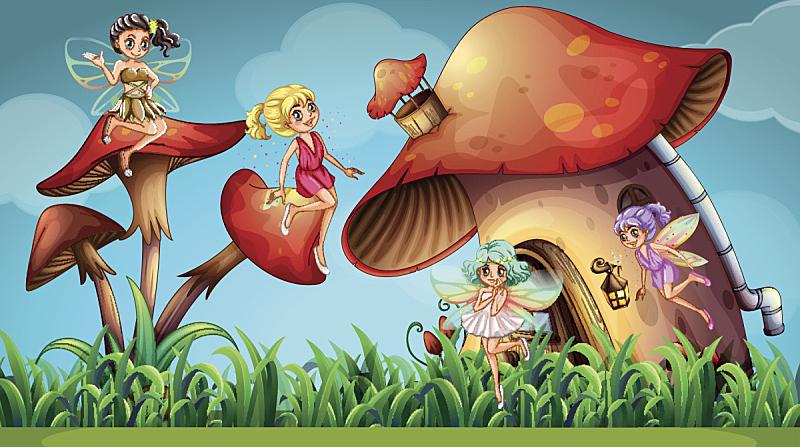 仙女,蘑菇,家庭花园,幻想,图像,草,动物,童话故事,计算机制图,毒蘑菇