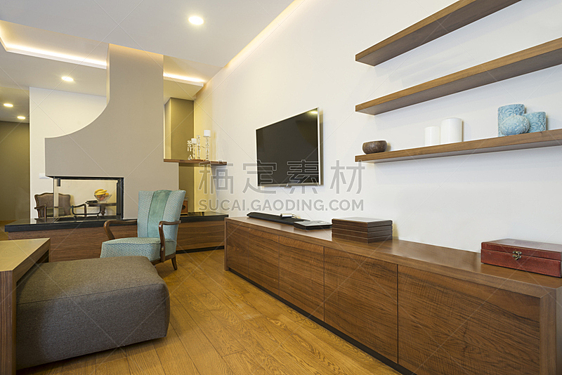 现代,公寓,室内,壁炉,新的,水平画幅,无人,椅子,天花板,家具