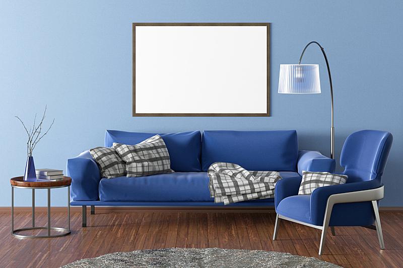 起居室,空白的,室内,砖,舒服,地板,椅子,复古风格,现代