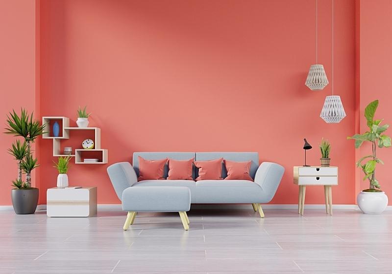 沙发,现代,起居室,灯,室内,桌子,植物群,绿色,华贵,舒服