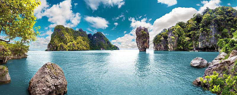 海景,地形,风景,水,天空,度假胜地,水平画幅,瀑布,无人,夏天