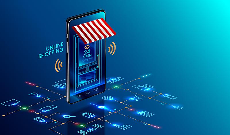 超级市场,商店,电子商务,市场营销,遮阳篷,概念,互联网,计算机图标,手机,购买