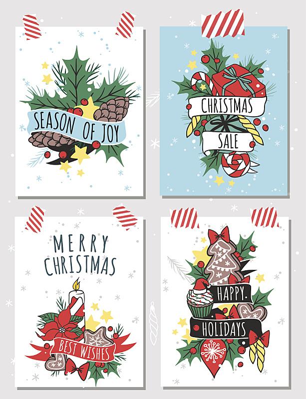 贺卡,模板,矢量,新年,分离着色,圣诞蛋糕,华丽的,请柬,圣诞装饰物