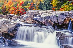 秋天,雨燕河,白山山脉,新英格兰,瀑布,河流,冲洗水,地形,下载