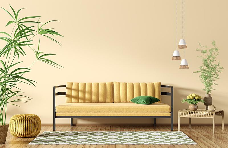 现代,三维图形,黄色,沙发,起居室,室内,华贵,长软椅,地板,住宅内部